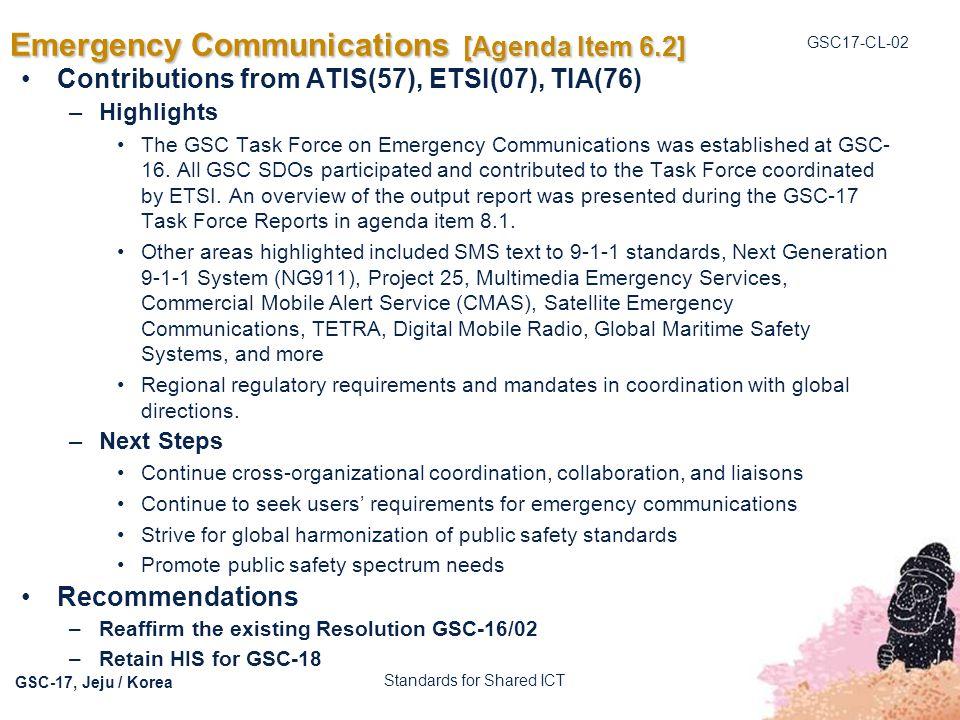 Emergency Communications [Agenda Item 6.2]